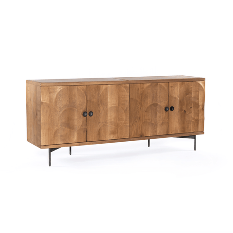 Aurelia Sideboard brown Sandstone inlay top Oak Wood frame Gunmetal legs and handles sustainable furniture modern trendy front view