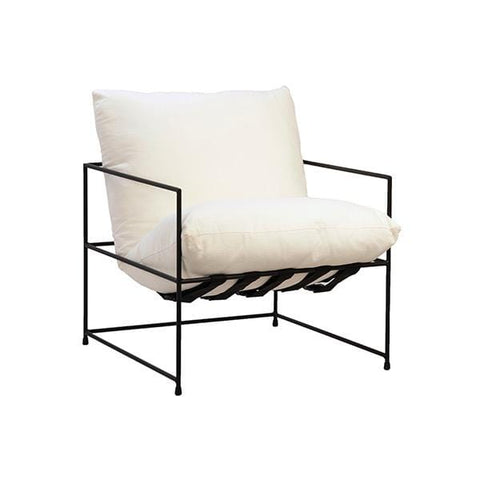 Avaz Chair white cotton linen blend upholstery black metal frame