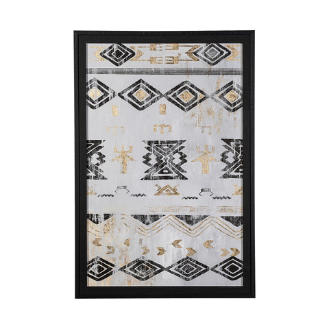 Aztec Artwork black frame cream gold paper canvas