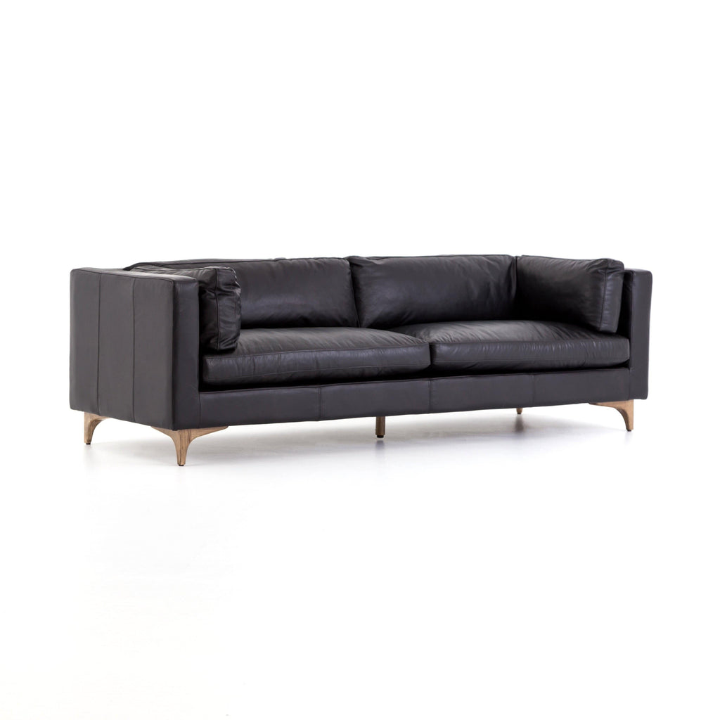 hatley top grain black mid-century sofa
