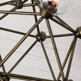scarlett chandelier atom shape glass iron brass