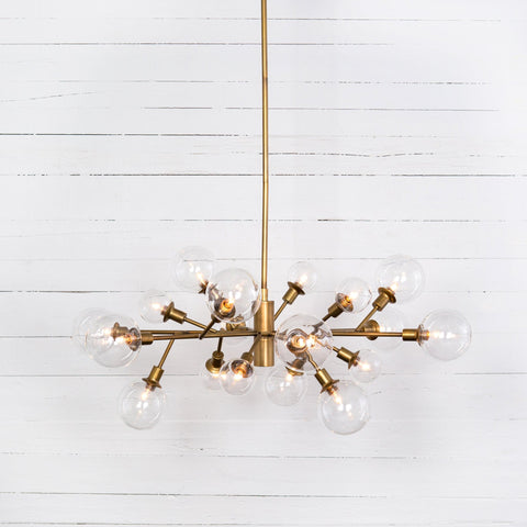 Chandeliers brown and beam furniture penelope chandelier matte brass sculptural midcentury iron glass aloadofball Image collections