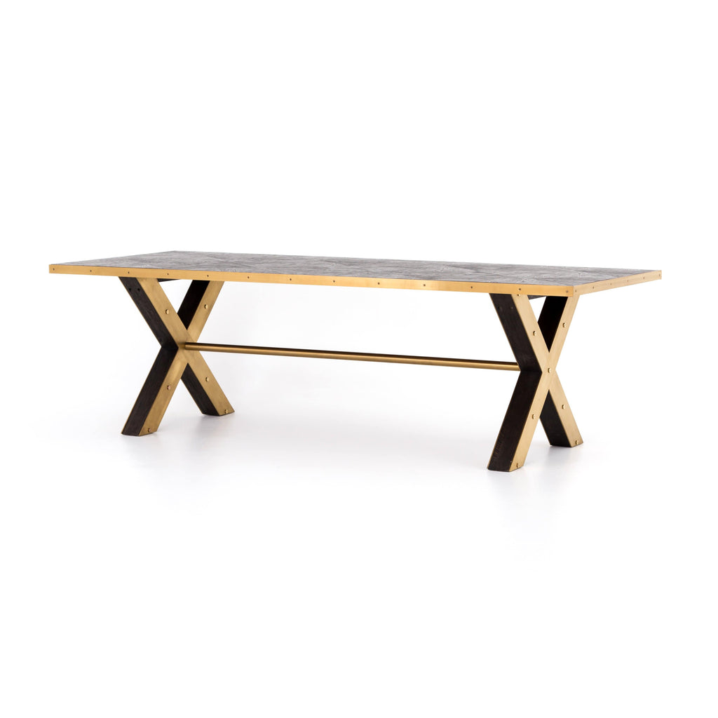 bradley dining table brass x leg