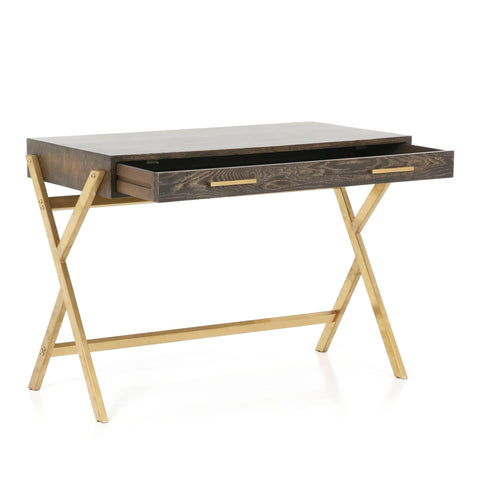 Danet Desk oak brass