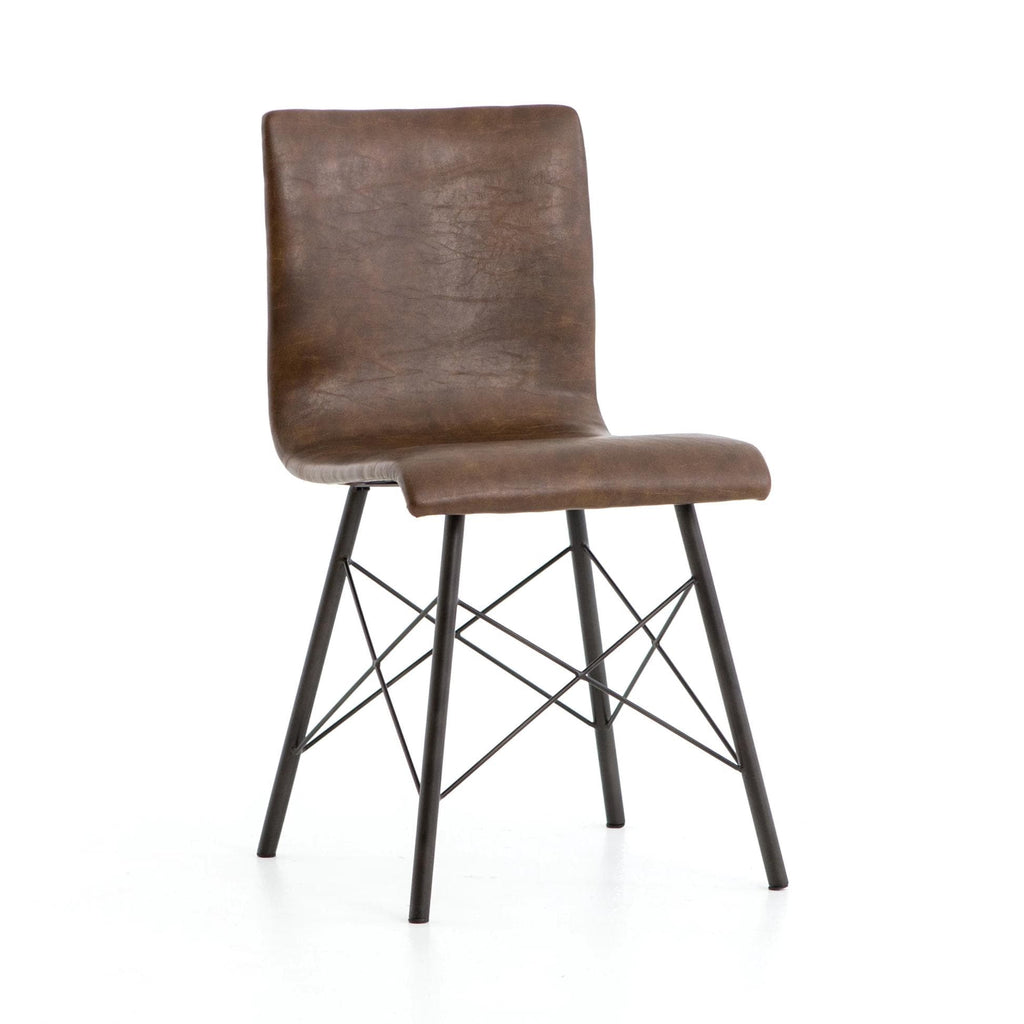 Asher Dining Chair distressed brown bonded leather iron