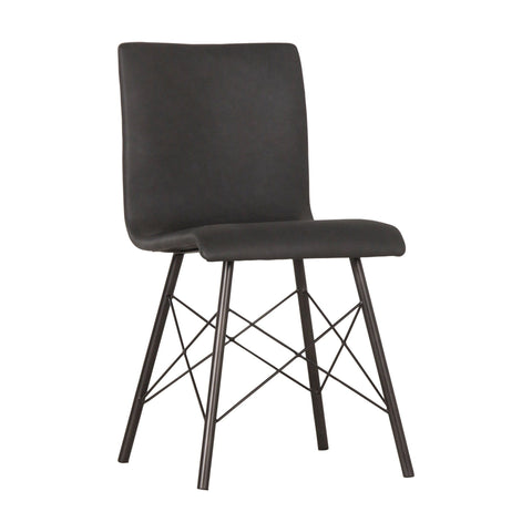 Asher Dining Chair distressed black bonded leather iron