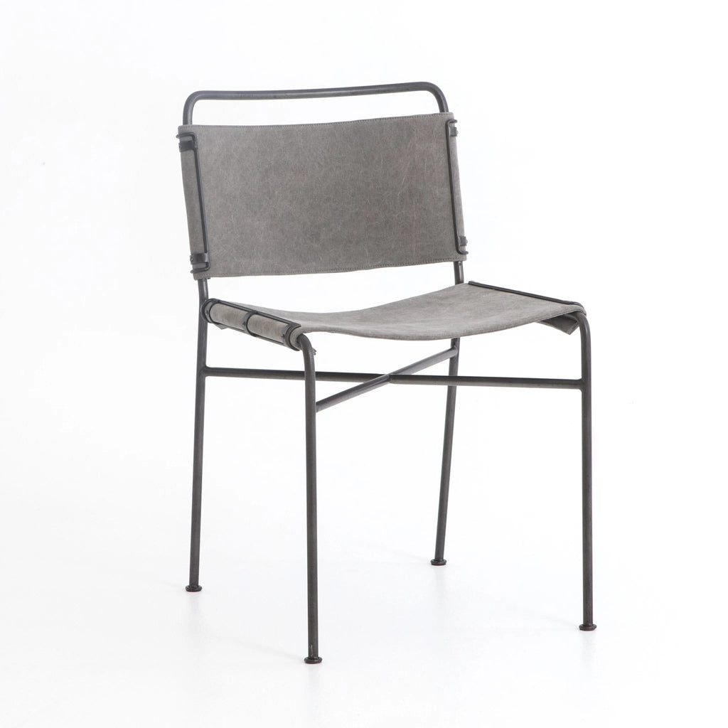 Grayson grey canvas metal industrial dining chair