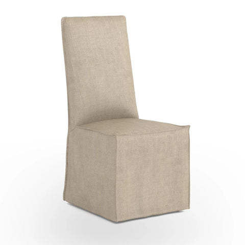 Elsa slipcovered linen dining chair sand
