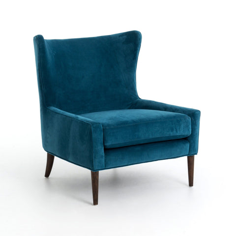 Celine teal blue velvet wing chair