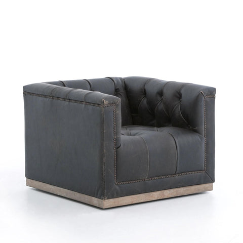 Parker black leather Swivel Chair
