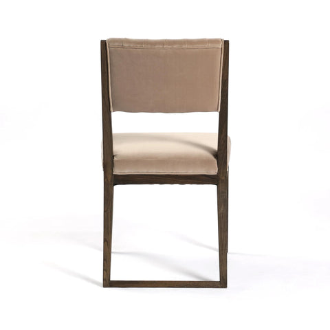 Tonya Dining Chair brown wood tan velvet