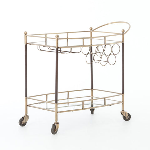Grace antique brass mirrored bar cart