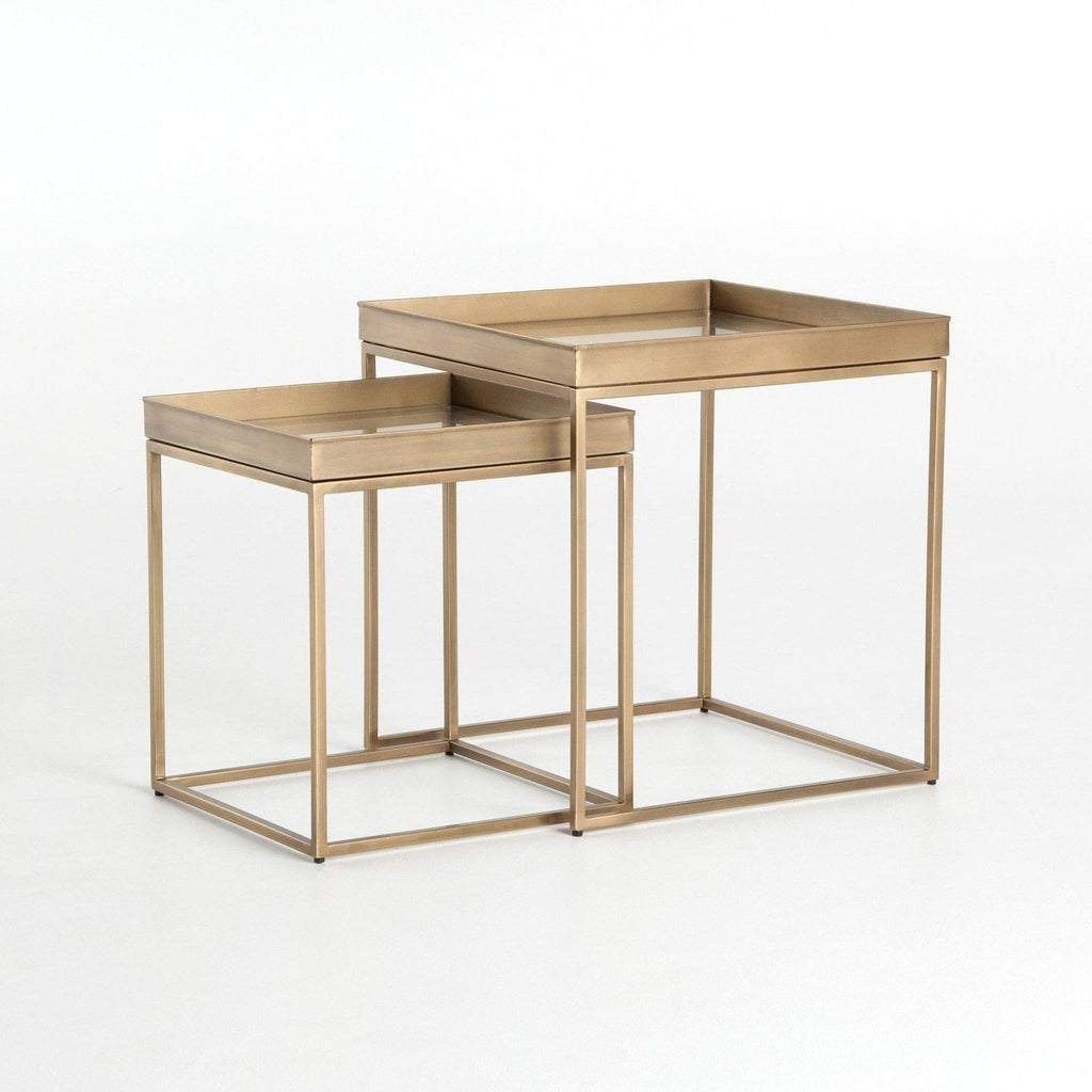 ava brass metal glass nesting end tables