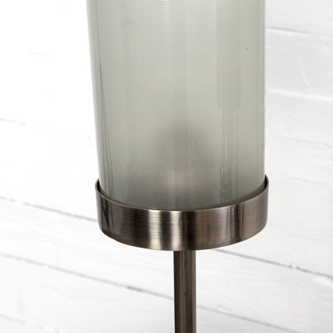 audrey table lamp midcentury pewter frosted glass