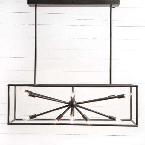 Adrian wide dark brass steel modern chandelier
