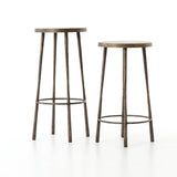Winston Bar and Counter Stool in Antique Brass Angled Sideview