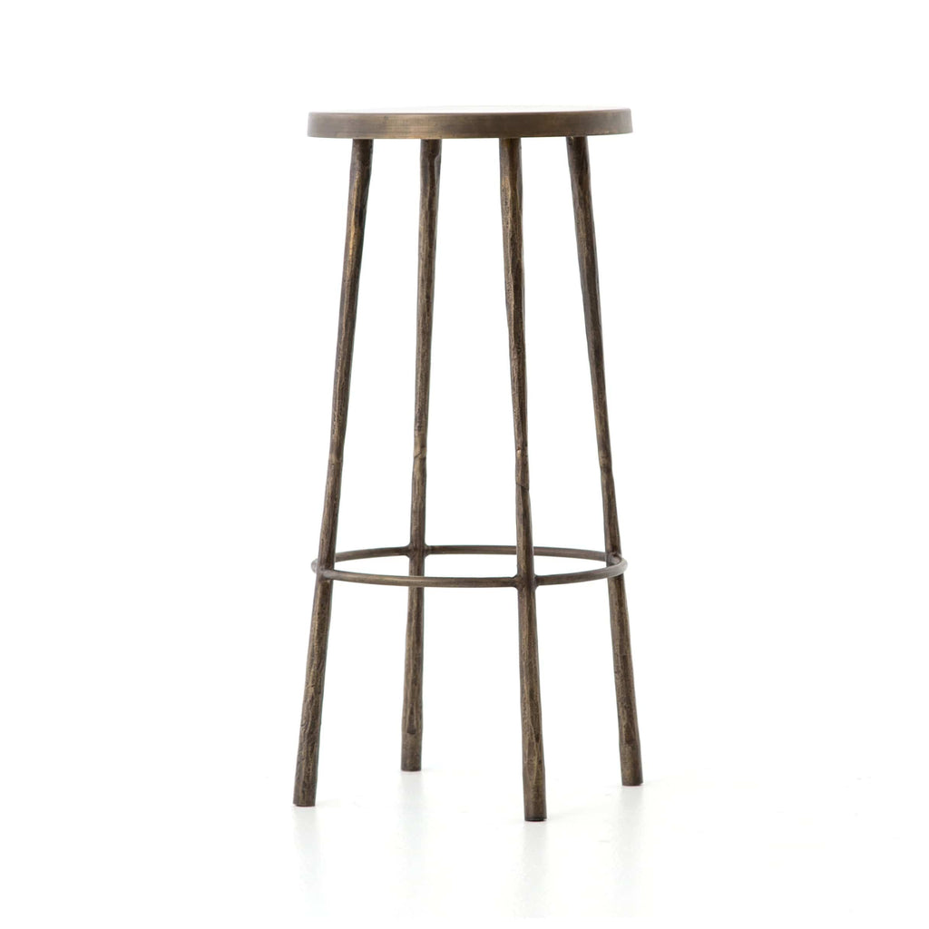 Winston Bar Stool in Antique Brass Angled Sideview