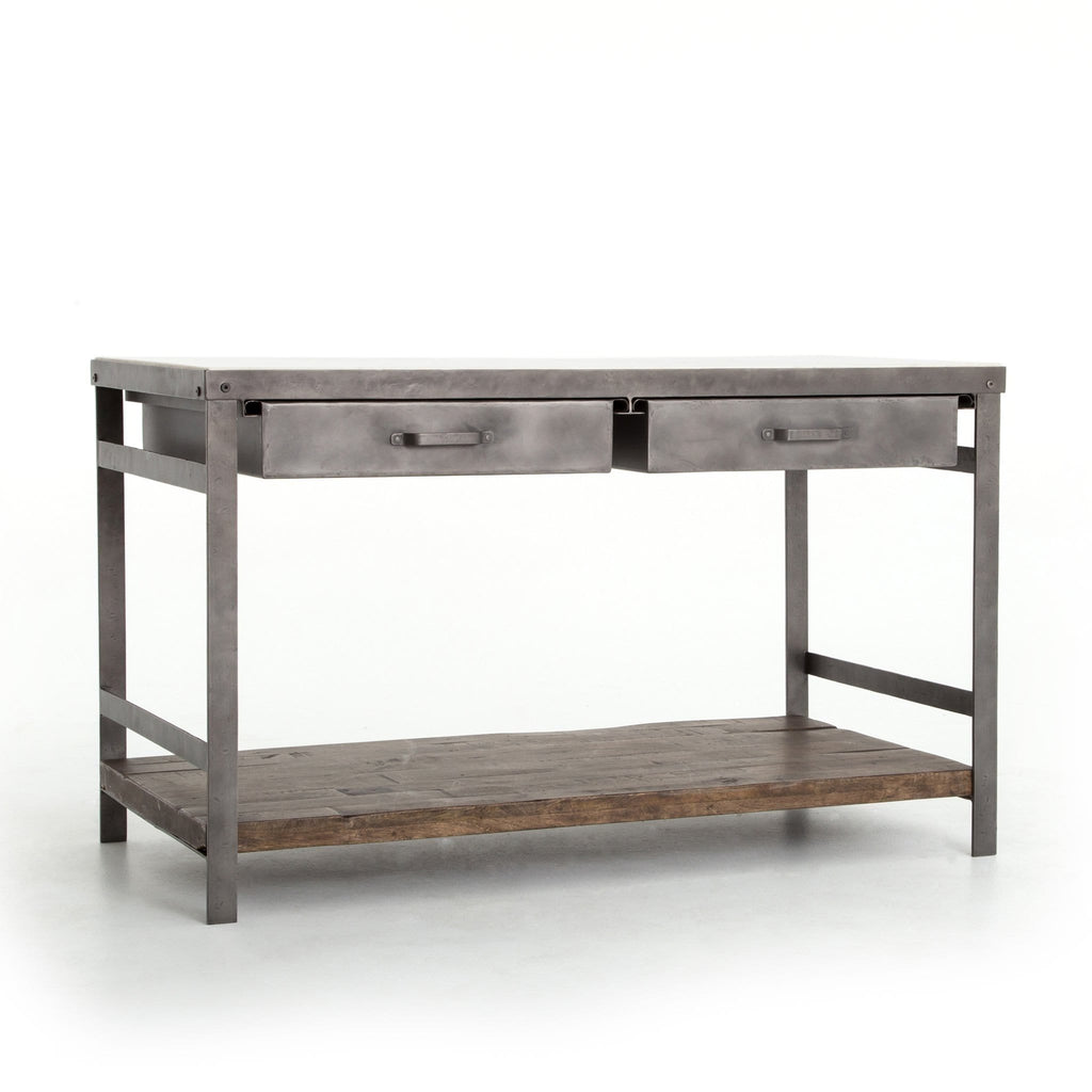 upland kitchen island industrial marble hickory iron