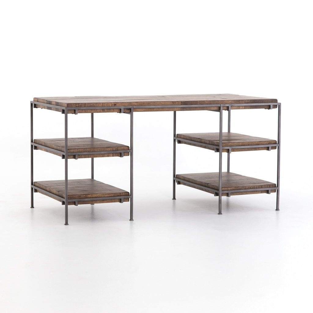 Jensen desk made of iron and mango wood in Weathered Brown and Gunmetal colors