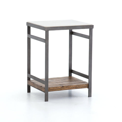 Upland End Table iron wood marble