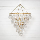Large Avery Chandelier in Gold Leaf Frontview Lit Up