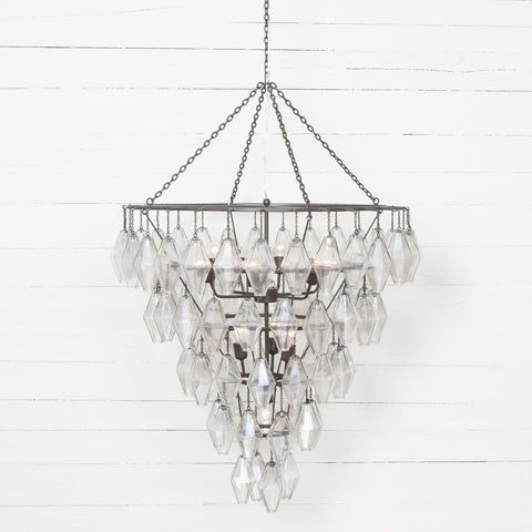 Large Avery Chandelier in Antiqued Iron Frontview Lit Up