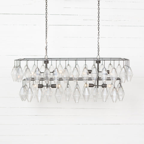 Avery chandelier antiqued iron rectangular glass
