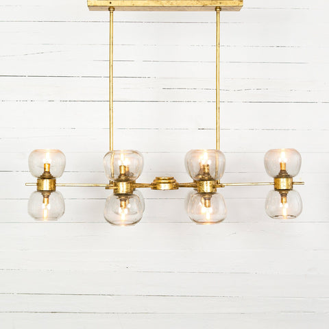 oliver chandelier gold leaf antique silver handblown glass