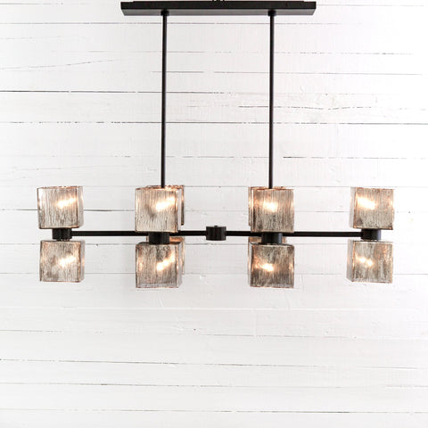 brock-chandelier-hand blown glass-iron-antiqued-adjustable height-