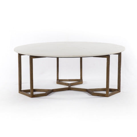 Aiken Round Brass Marble Coffee Table