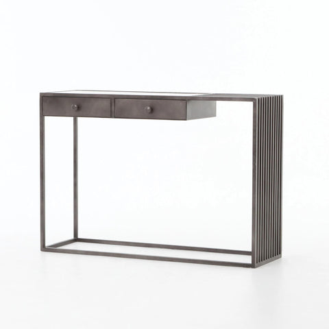 Regina white marble metal console table