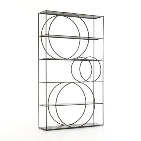 Darby gunmetal grey iron metal bookshelf
