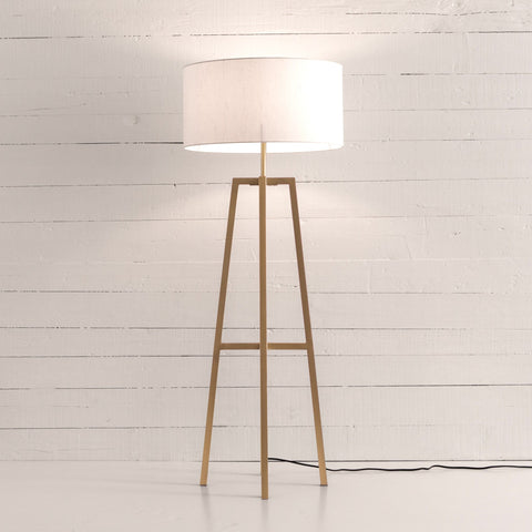 Luke Floor Mirror brass aluminum frame ivory cotton shade modern design