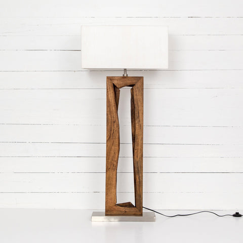 grant floor lamp mango wood cotton stainless steel live edge