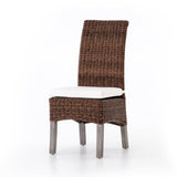 christie rattan teak brown white chair