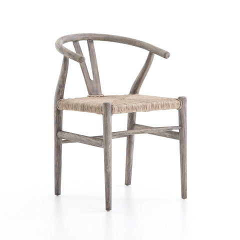 Wegner teak wood woven outdoor dining chair grey