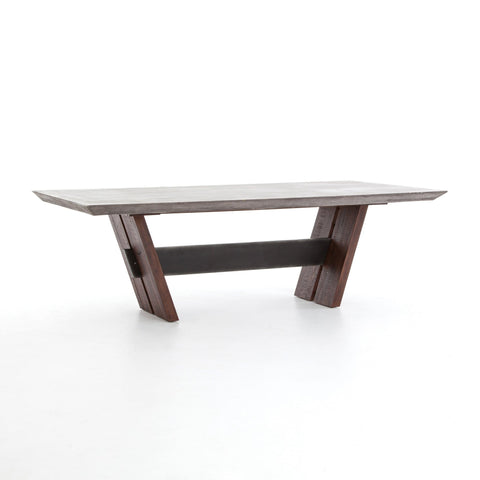 Brent Table concrete top iron beam oak legs modern