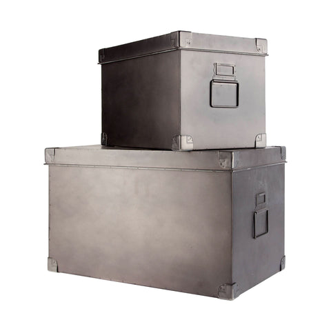 Metal storage Boxes metal grey black