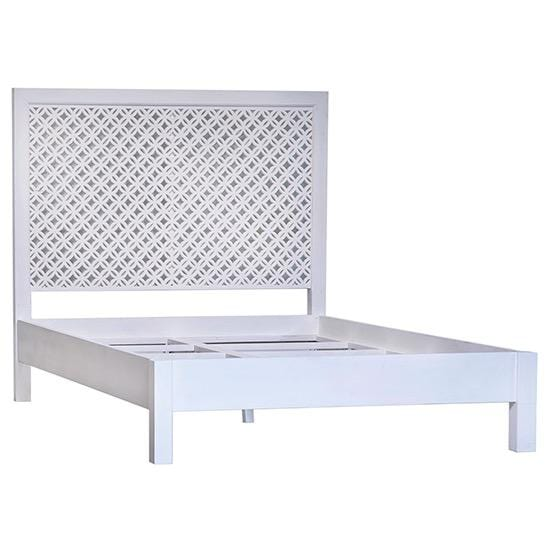 Balboa Bed white acacia wood frame queen king size