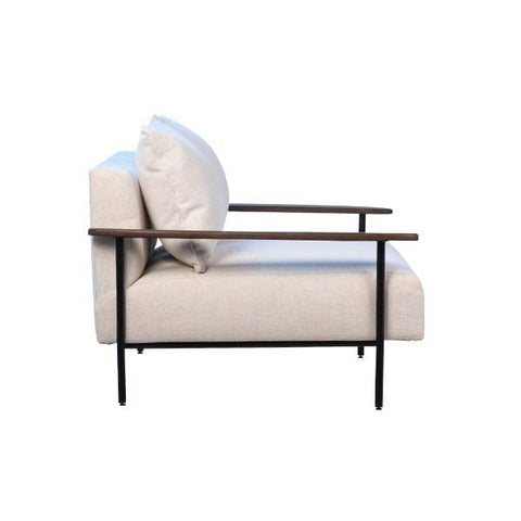 Barbara Sofa white linen upholstery black metal frame brown wood arm rests