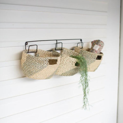 Basket Shelves handwoven seagrass black recycled metal frame