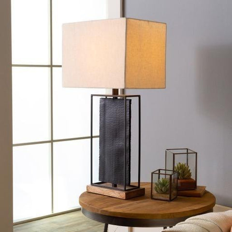 Baxter Table Lamp black metallic frame brown wood base polyester ivory shade