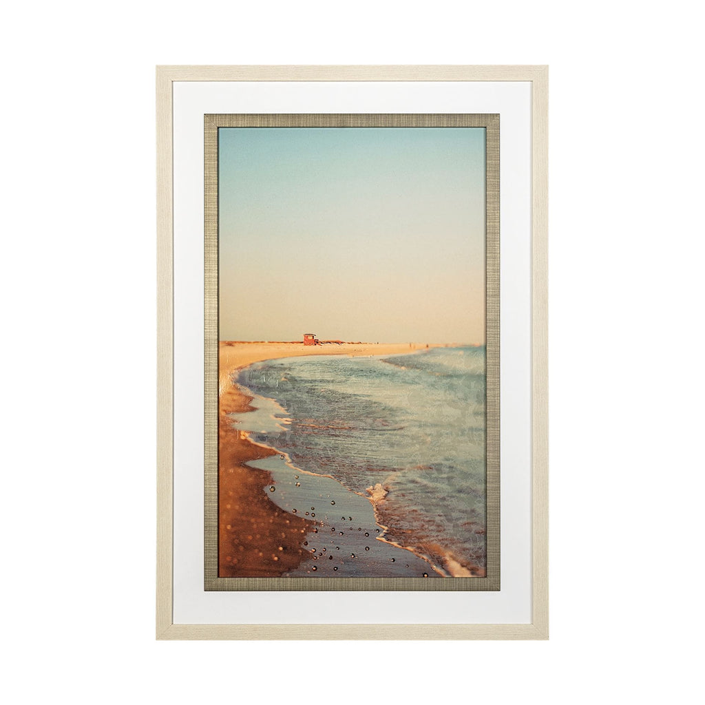 Beachside Artwork cream frame beach colored canvas