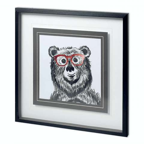 Beatrice Bear Print white grey painting red glasses black wood frame