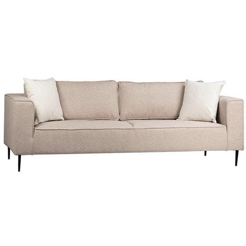 Beau Sofa beige cotton blend upholstery white linen pillows black metal legs