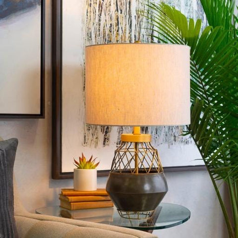 Beca Lamp Grey concrete Gold frame metal Ivory linen shade