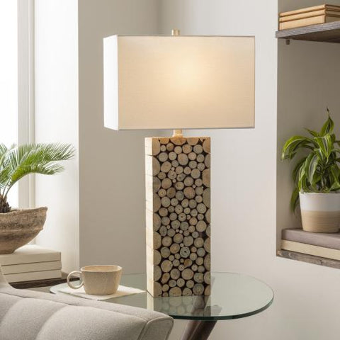 Birch Table Lamp natural wood base white linen shade