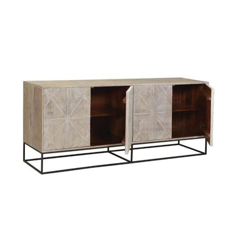 Blanche Sideboard made of mango wood and iron comes in Ivory White and Shadow Black