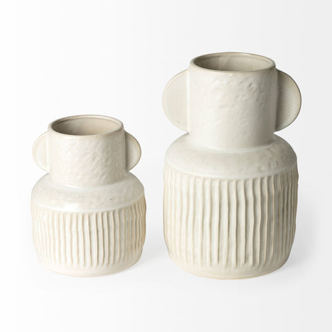 Blanco Vase ceramic ivory stripe handles small and large sizes