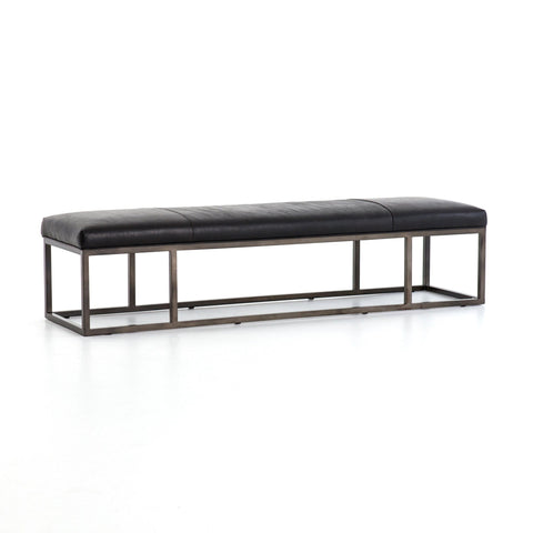 Boston Bench black leather gunmetal iron frame